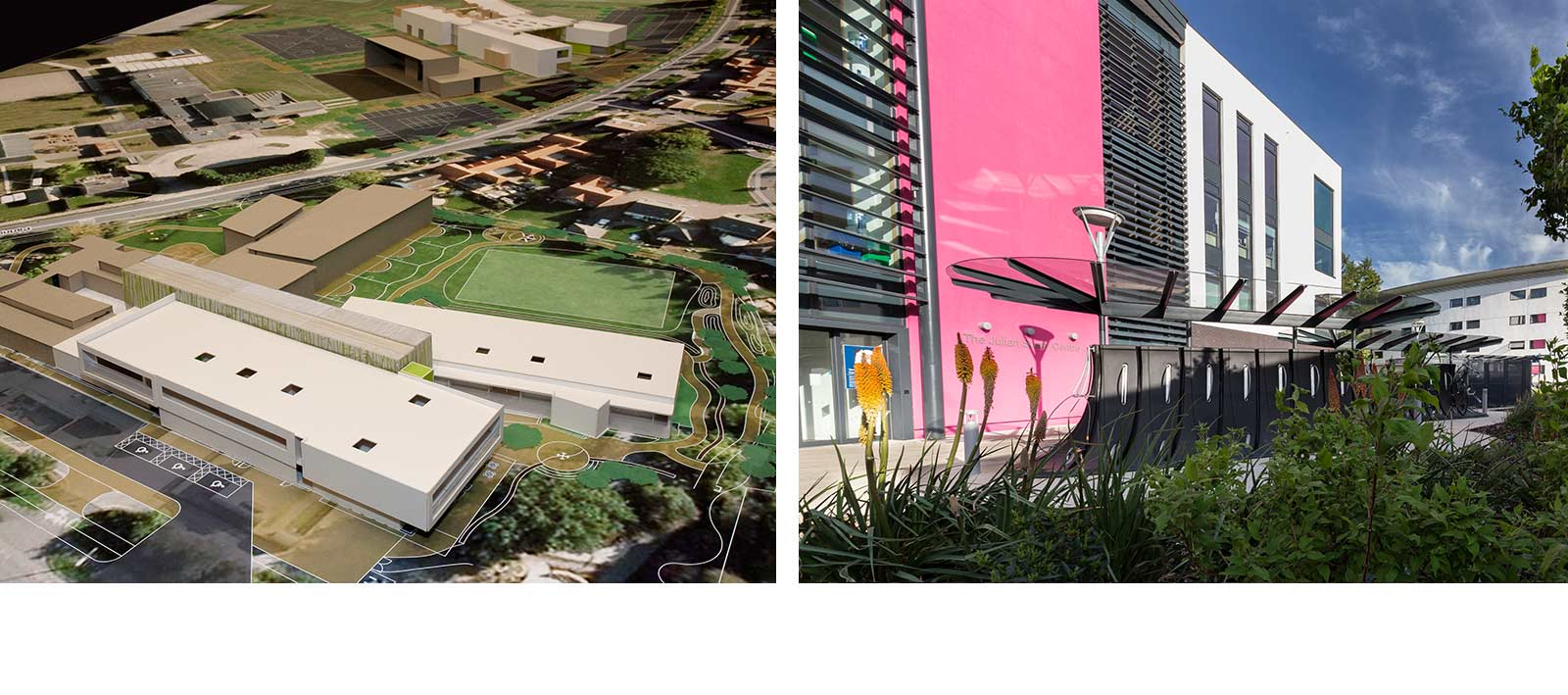 Landscape design overview of landscape and building with planting